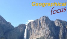 Geographical focus, picture of waterfall flowing over cliff