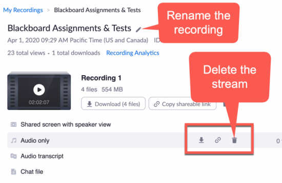 Zoom recording management view