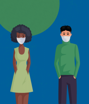 Image of two people wearing face coverings.